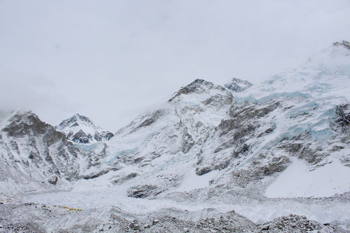 Mount Everest in the background.