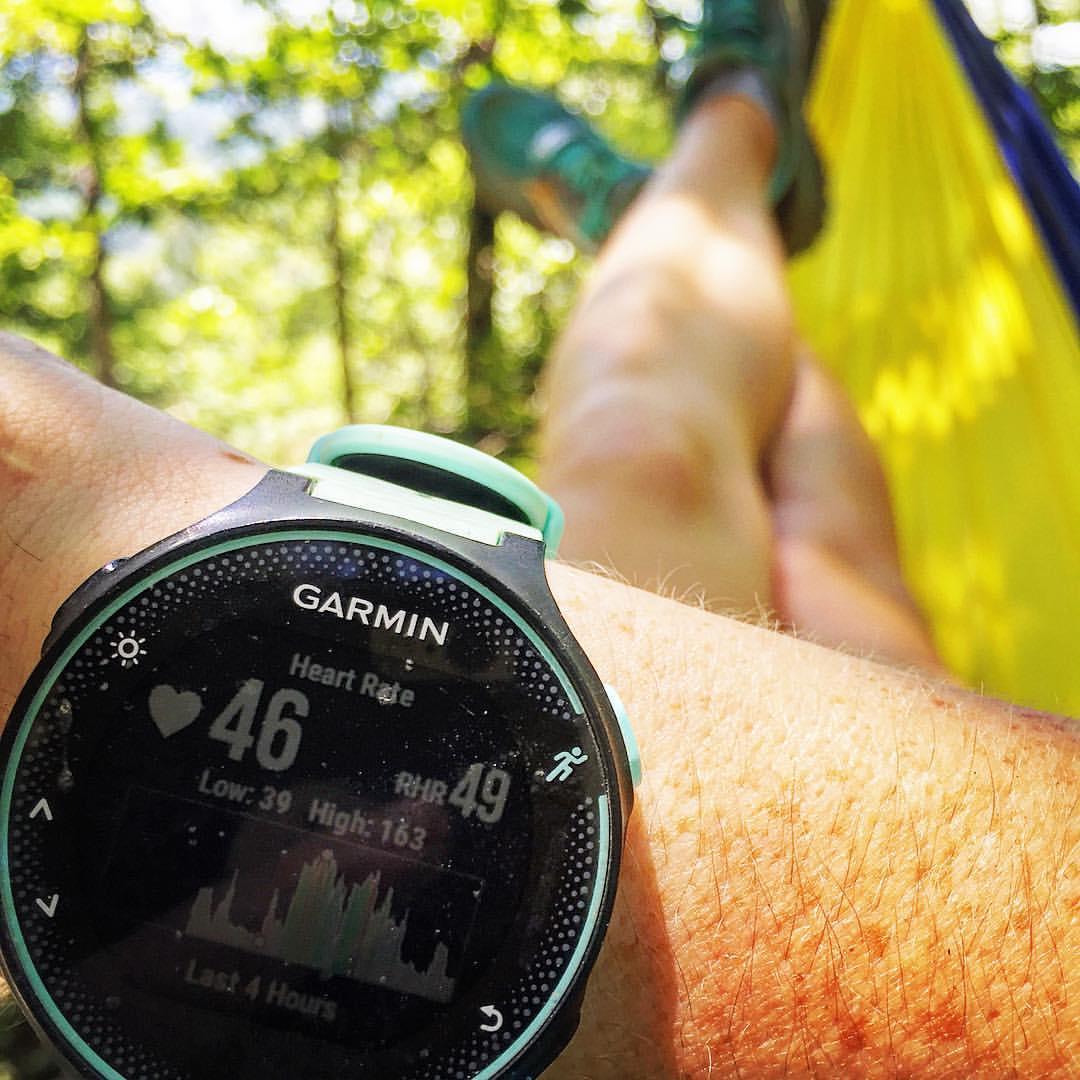 Garmin watch showing low heart rate.