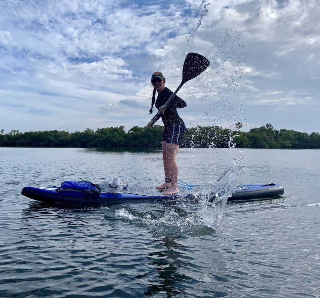 Splashing around during while paddle.