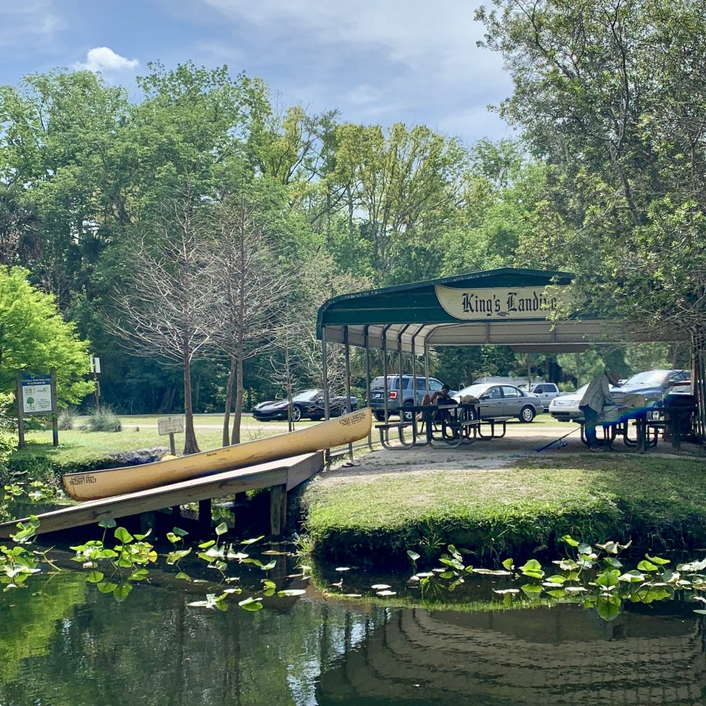 The ramp and pavilion which marks the pick up point at Wekiva Island.