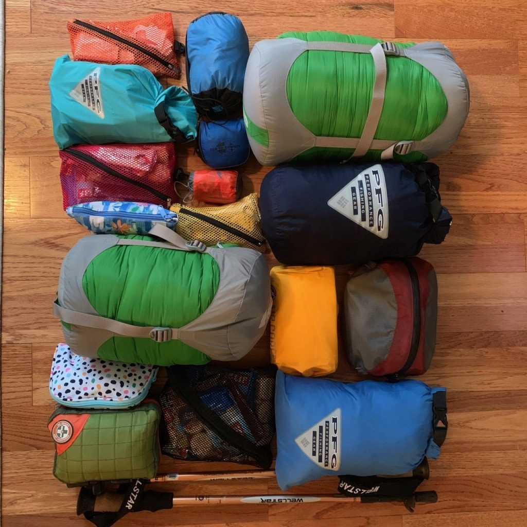 Gear from Kilimanjaro packing list laid out.