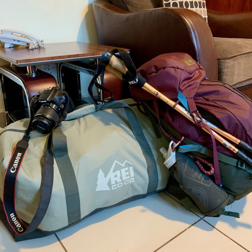 All the gear from the Kilimanjaro packing list packed up and ready to go.