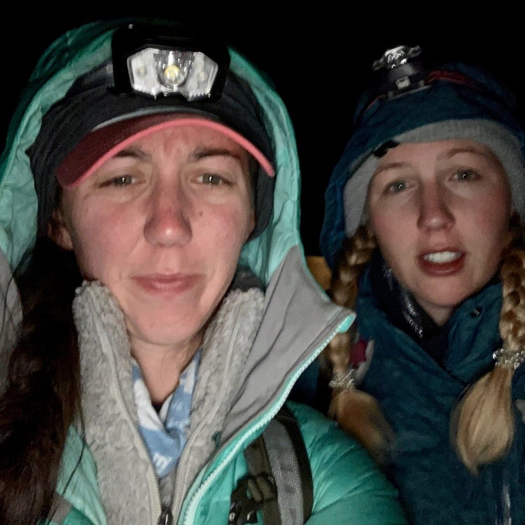 Two hikers prepare for summit day on Kilimanjaro.