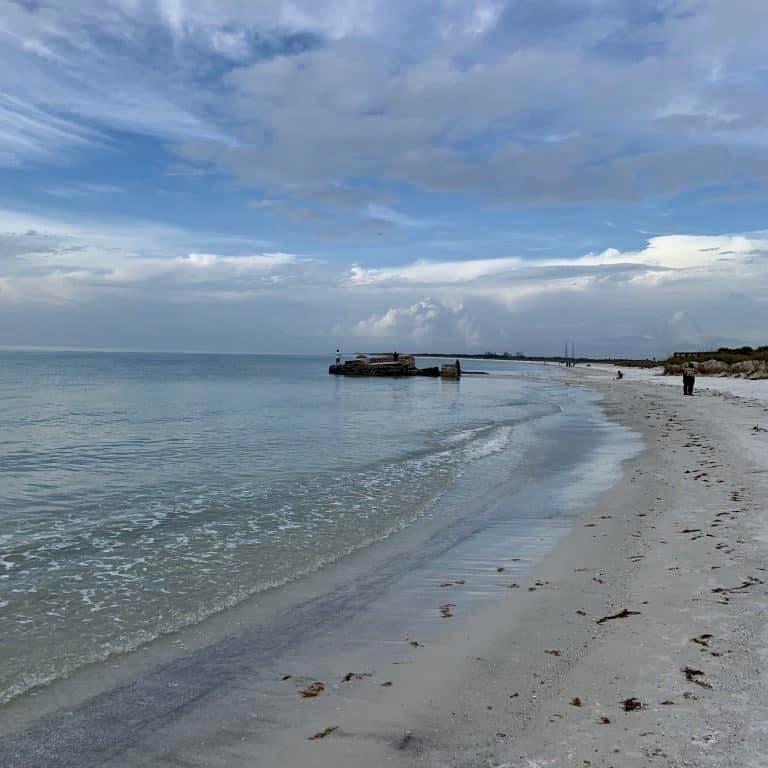 White sand beaches along a pristine shoreline of Fort DeSoto.
