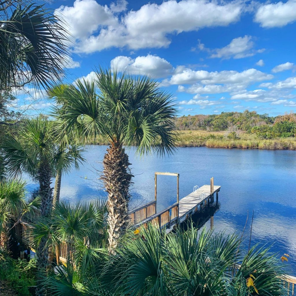 The view from the River Grille on the Tomoka has a narrow dock that juts out into the Tomoka River and overlooks the marsh area located on the other side of the river.