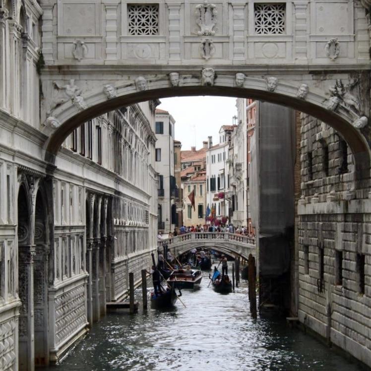 The narrow waterways of Venice, Italy.
