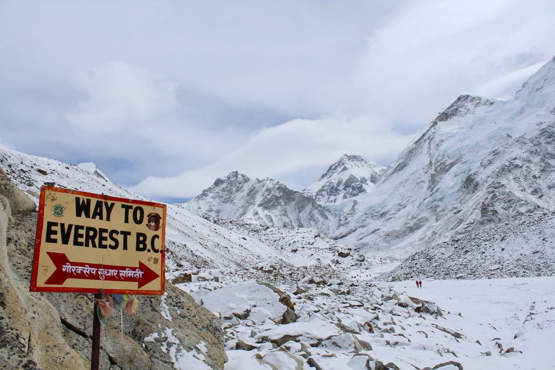 The Everest Base Camp sign in Gorak Shep heading towards Mount Everest.