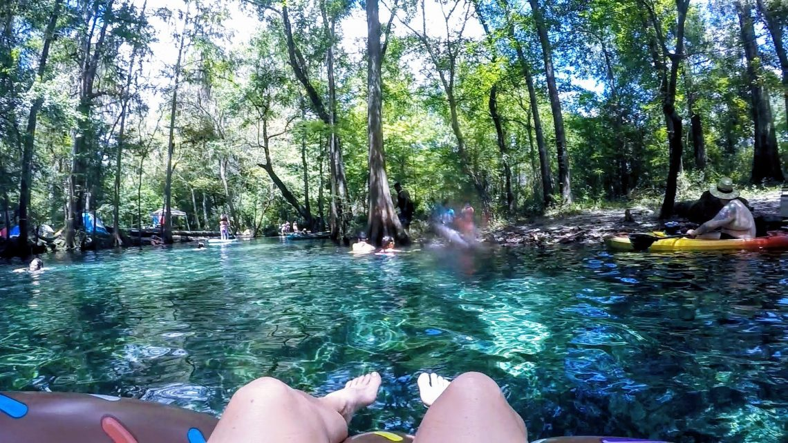 A view from a tuber inside the crystal clear water at Ginnie Springs.