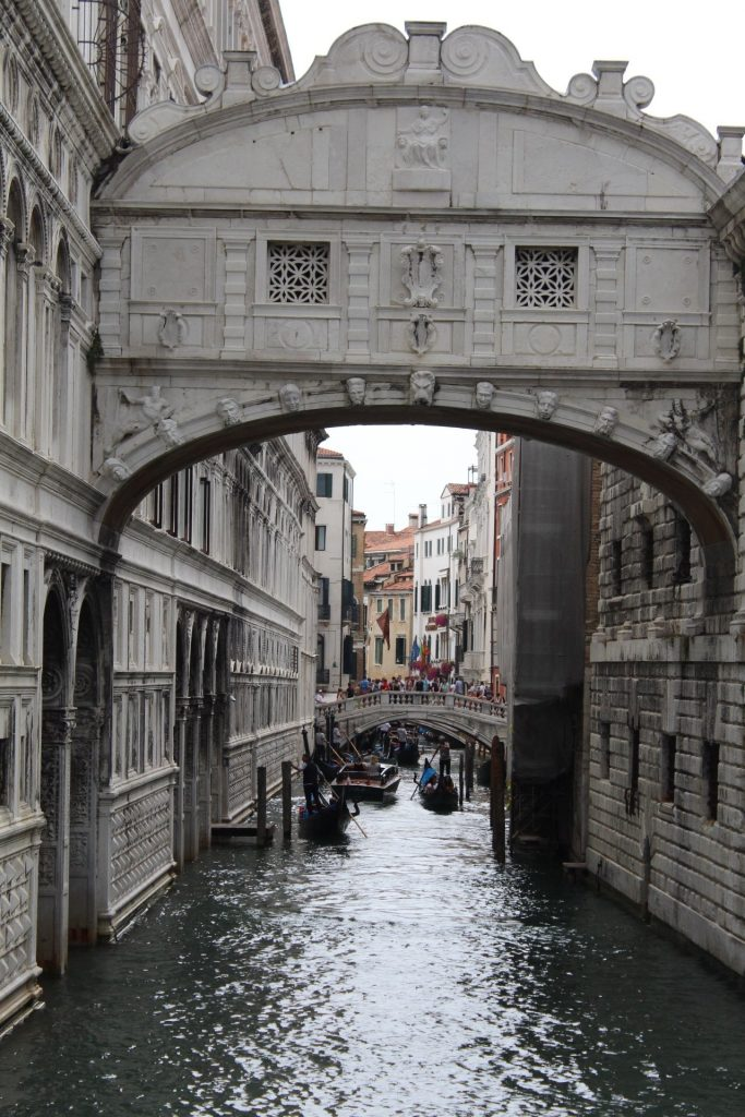 The narrow waterways of Venice, Italy.