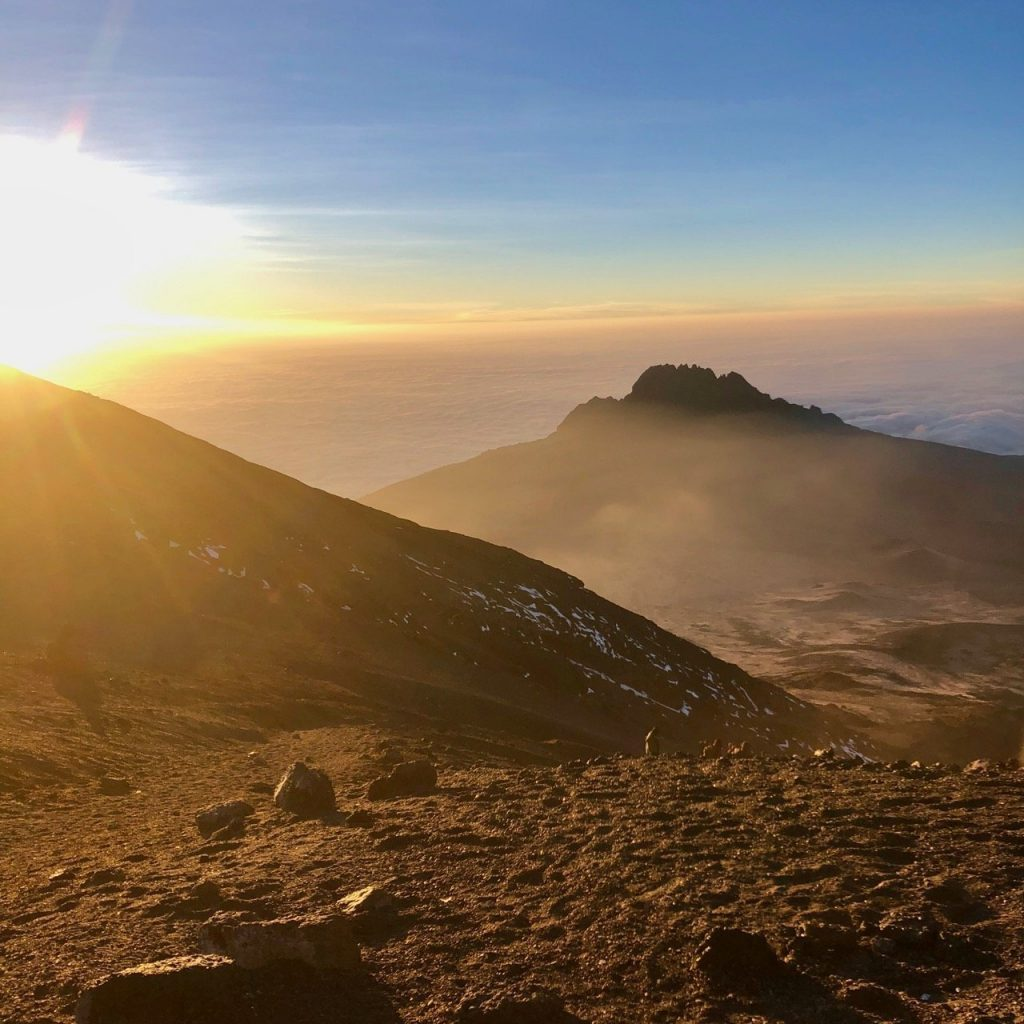 Sunrise from Stella Point on Mount Kilimanjaro.