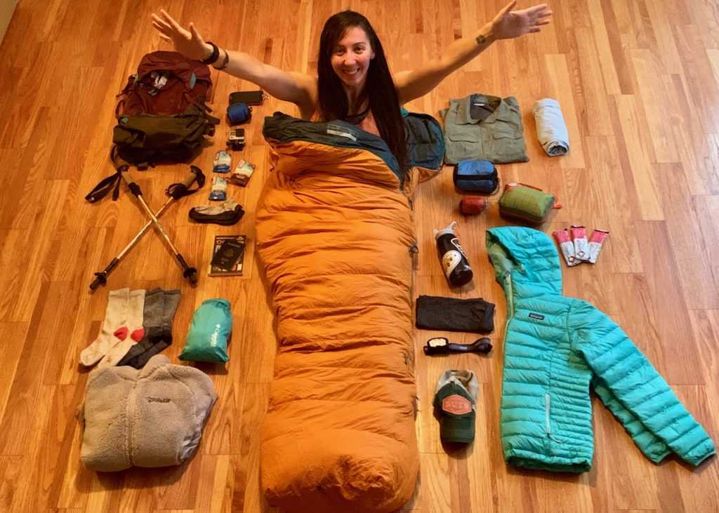 Gear photo for summit day on Kilimanjaro.
