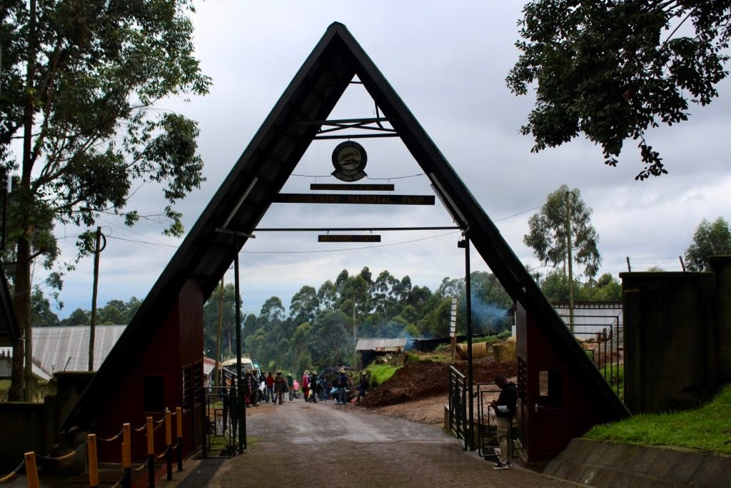 The entrance gate to the start of the Machame route when climbing Kilimanjaro.