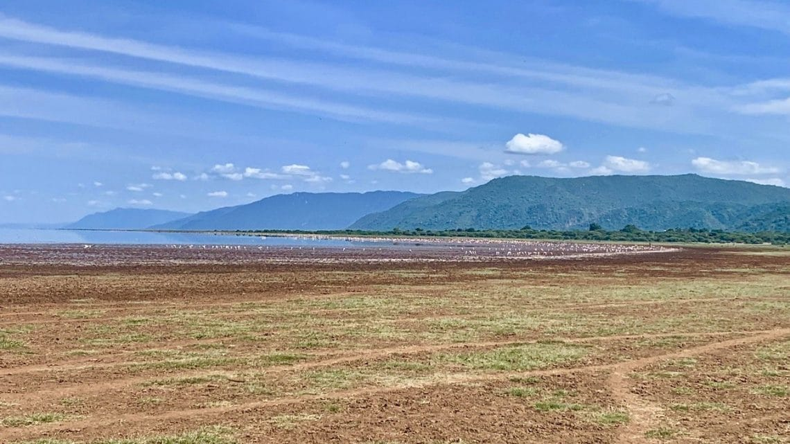 A landscape photo ooh Lake Manyara on safari after climbing Kilimanjaro.