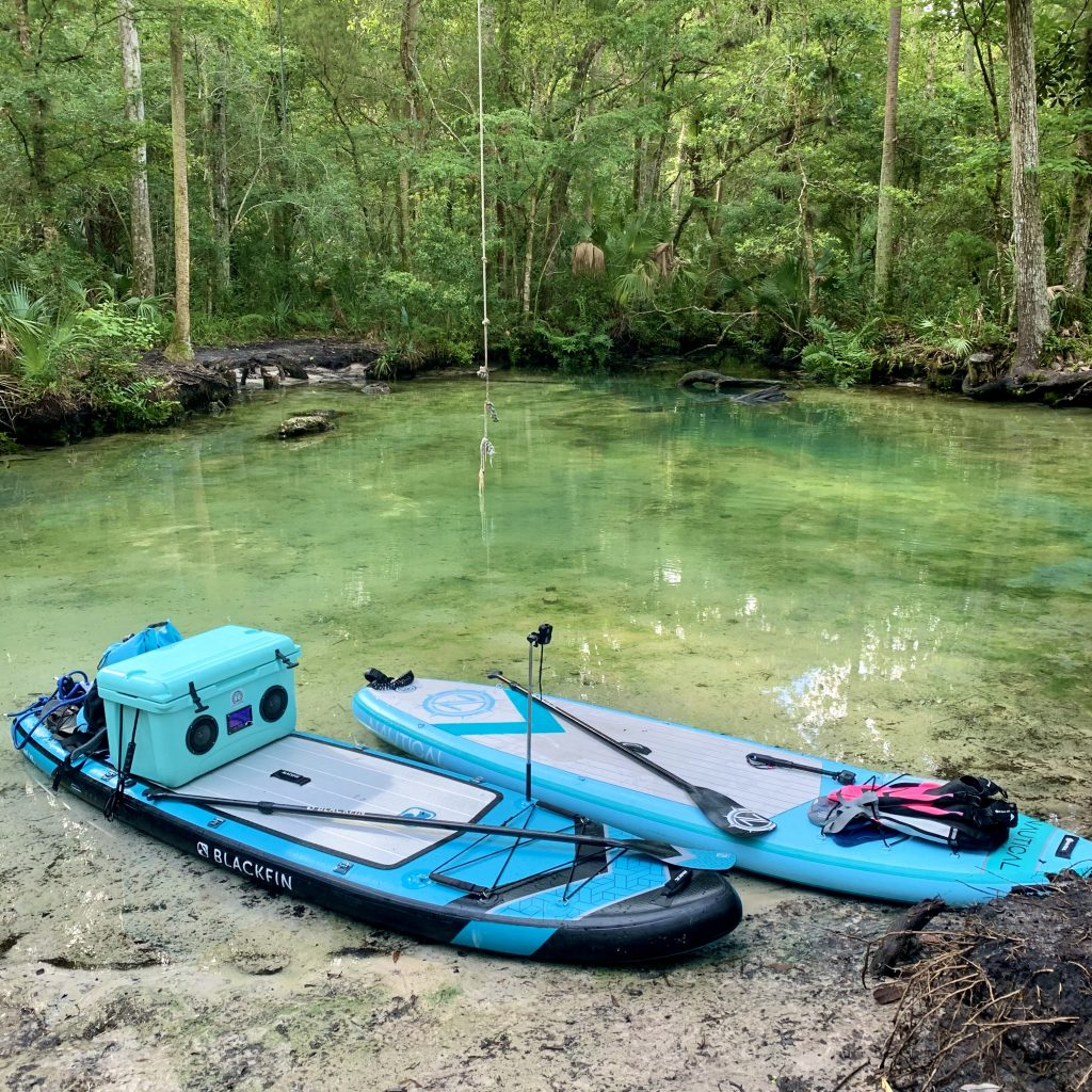 Two paddle boards at the Crack in the Chassahowitzka Wildlife Refuge.